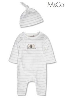 M&Co Elephant Stripe Sleepsuit