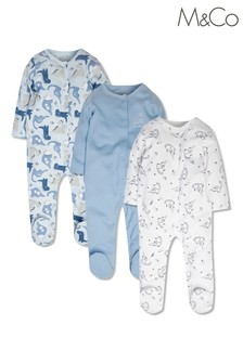 M&Co Dinosaur Sleepsuits 3 Pack