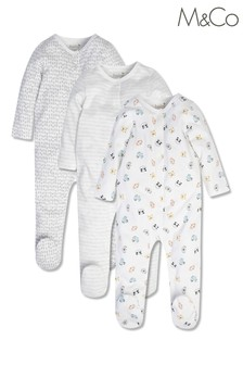 M&Co Animal Sleepsuits 3 Pack