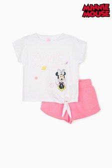 Zippy Girls White/Pink Disney Minnie Mouse T-Shirt And Shorts