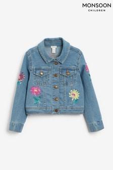 Monsoon Blue Sequin Flower Denim Jacket