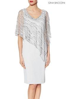 Gina Bacconi Joanna Asymmetric Beaded Cape Dress