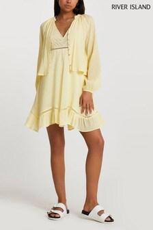 River Island Yellow Light 2-In-1 Mini Dress