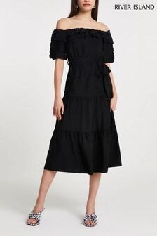 River Island Black Bardot Frill Midi Dress