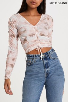 River Island Pink Ruched Front Tie Dye Top