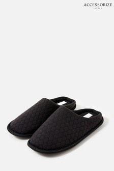 Accessorize Black Bubble Stitch Slippers