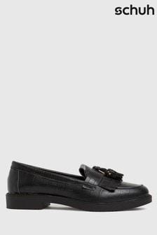 Schuh Black Lorri Croc Leather Loafers