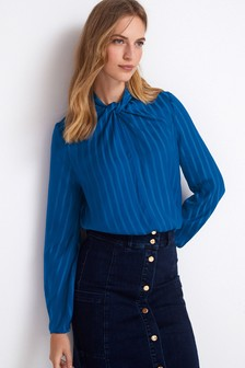 Satin Knot Front Blouse