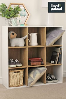 9 Cube Storage Unit in White and Oak Effect By Lloyd Pascal