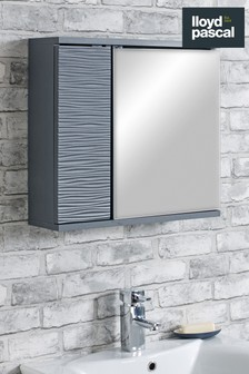 Mary Jane Ripple Mirror Cabinet in Grey By Lloyd Pascal