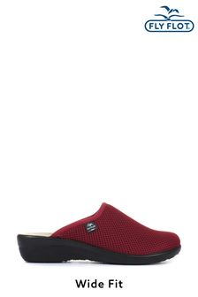 Fly Flot Red Ladies Wide Fit Clogs