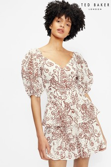 Ted Baker Elizaaa Broderie Mini Dress With Puff Sleeves