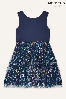 Monsoon Blue Butterfly Print Dress
