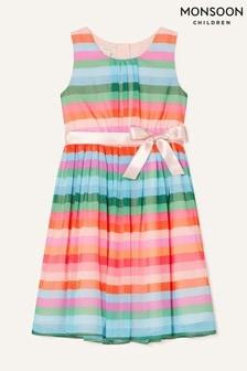 Monsoon Pink Desert Stripe Chiffon Dress