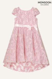 Monsoon Pink Butterfly Jacquard Dress
