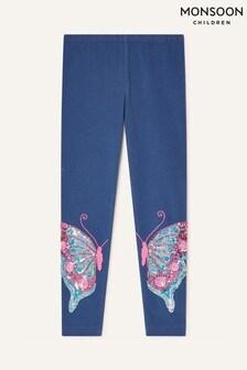 Monsoon Blue Butterfly Leggings In Organic Cotton