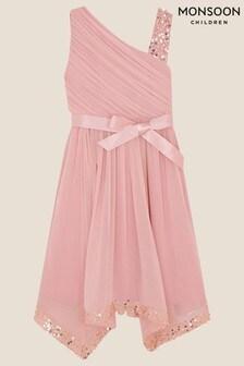 Monsoon Pink Sequin One Shoulder Dress