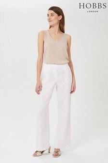 Hobbs White Jacinta Linen Trousers