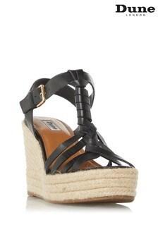 Dune London Black Kofu Espadrille Wedge Sandals