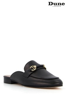 Dune London Black Glowin Snaffle Trim Backless Loafers