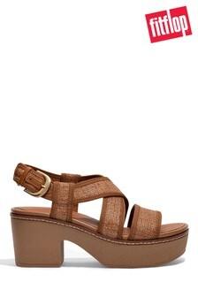 FitFlop Pilar Straw Raffia Back Strap Plaform Sandals