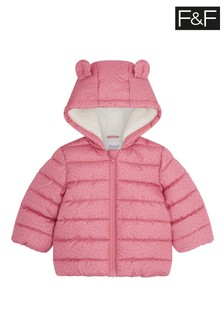 F&F Pink Borg Lined Padded Coat
