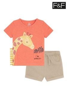 F&F Orange Giraffe Pocket Shorts Set