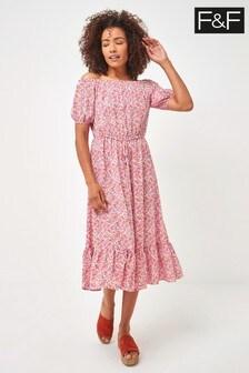 F&F Pink Floral Bardot Midi Dress