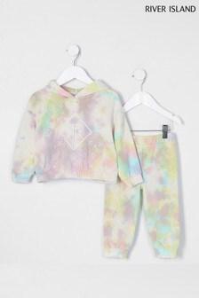 River Island Pink Mini Tie Dye Sweat Set