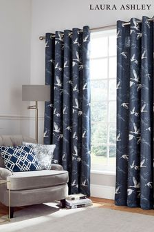 Laura Ashley Midnight Blue Animalia Eyelet Curtains