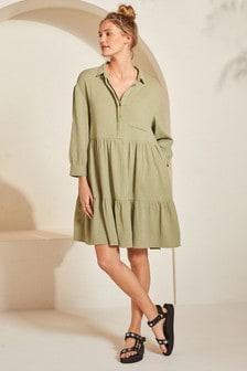 Textured Oversized Shirt Dress