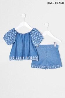 River Island Denim Bardot Bubble Sleeve Top And Shorts Set