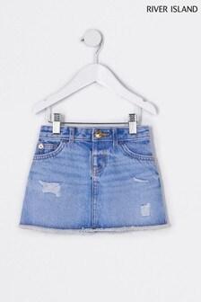 River Island Blue Topaz A-Line Skirt