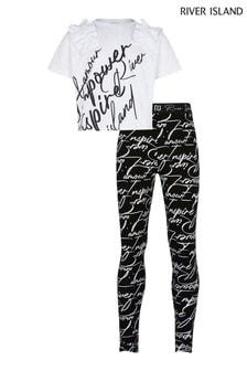 River Island White Ruffle T-Shirt And Leggings Set