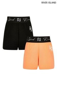 River Island Orange Waistband Shorts 2 Pack