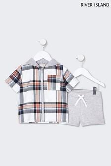 River Island Red Check Shirt And Shorts Set