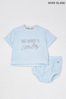 River Island Blue Mummy's Boy Bloomer Set