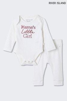 River Island White Mama's Little Girl Set