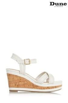 Dune London White Karm Whipstitch Detail Wedge Sandals