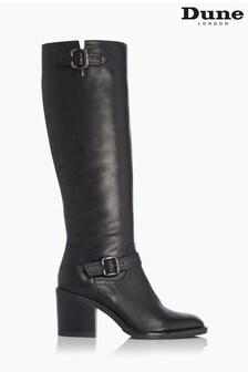 Dune London Black Trelis Double Buckle Block Heel Knee High Boots