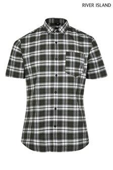 River Island Khaki Short Sleeve Slim Check Shirt