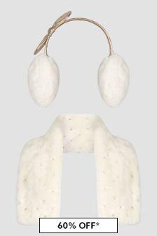 Charabia Ivory Scarf And Ear Muff Set