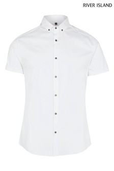 River Island White Embroidered Muscle Shirt
