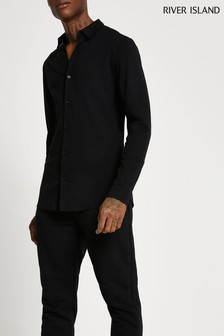 River Island Black Muscle Fit Long Sleeve Shirt
