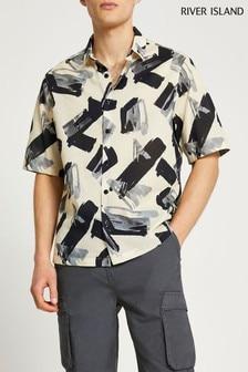 River Island Stone Light Sheer Paint Stroke Print Shirt