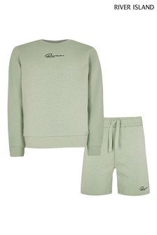 River Island Green Crew Sweater And Shorts Set