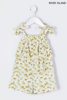 River Island Yellow Lace Frill Playsuit