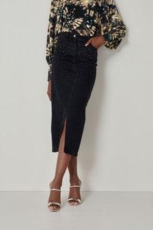 Embellished Denim Midi Skirt