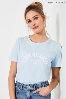 Mint Velvet Blue City Slogan T-Shirt