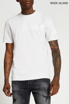 River Island Light Grey Slim Side Print T-Shirt